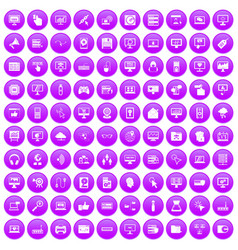 100 computer icons set purple vector