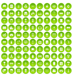 100 home icons set green circle vector