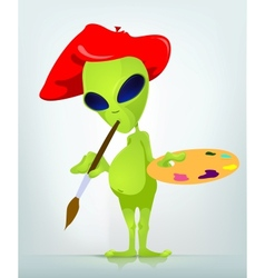 Cartoon painter alien vector