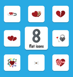 Flat icon amour set of key shaped box letter and vector
