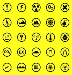Warning sign icons on yellow background vector