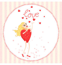 Valentine card with woman heart stands with arms r vector