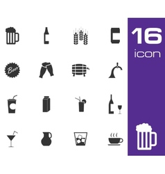 Black beer and beverage icons set on white vector