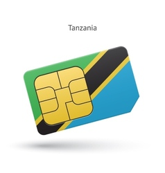 Tanzania mobile phone sim card with flag vector