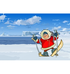 Cartoon man on skis on a background of icebergs vector