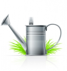 Watering can and grass vector