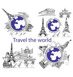 Travel around world and sights vector