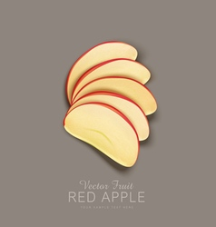 Red apple slices isolated vector