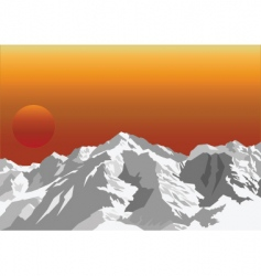 Mountain sun rise vector