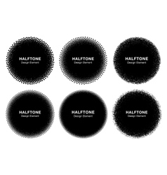 Set of 6 abstract halftone dots circles vector