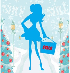 Abstract card - winter sale vector image vector image