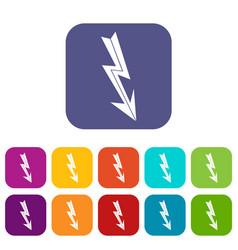 Arrow lightning icons set vector