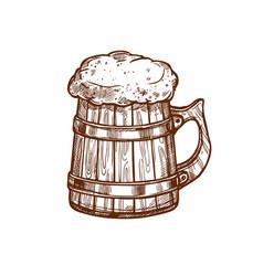 beer mug sketch icon vector image