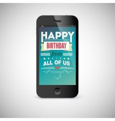 Birthday greeting card on screen of mobile phone vector