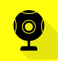 Chat web camera sign black icon with flat style vector