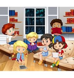 Children reading books in living room vector