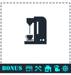 Coffee maker machine icon flat vector image