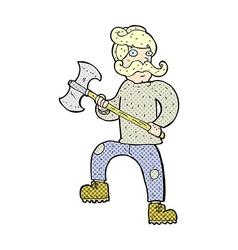 comic cartoon man with axe vector image vector image