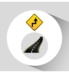 curves road sign concept asphalt graphic vector image