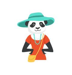cute fashion panda bear girl character hipster vector image