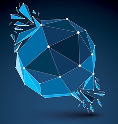 dimensional wireframe luminescent object with blue vector image