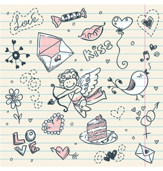 Doodle valentines day scrapbook page vector