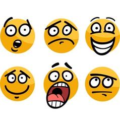 emoticon or emotions set cartoon vector image vector image