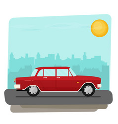 flat old car vector image