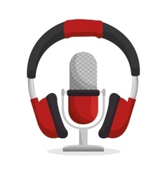 Headset and microphone sound device icon vector