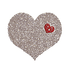 Heart-shaped design element made of white pearls o vector