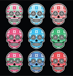 Mexican sugar skull with winter nordic pattern vector