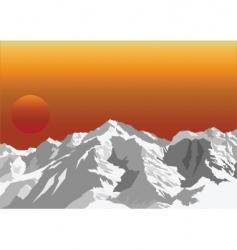 mountain sun rise vector image