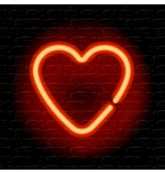 Neon heart on the brick wall vector image vector image