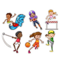 People doing different types of sports vector image vector image