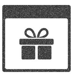 Present box calendar page grainy texture icon vector