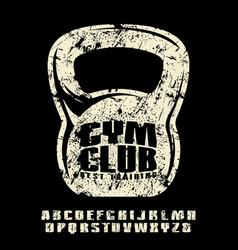 Sanserif font and gym club emblem for t-shirt vector