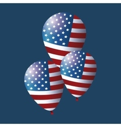 Set flag balloons president day decorative vector