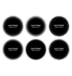 Set of 6 abstract halftone dots circles vector