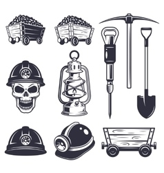 Set of vintage coal mining elements vector