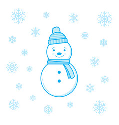 smiling snowman and snowflakes vector image vector image