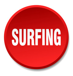Surfing red round flat isolated push button vector