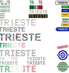 Trieste text design set vector