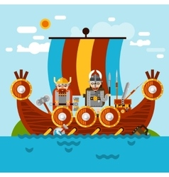 Viking boat background vector