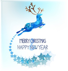 Watercolor beautiful blue deer with snowflakes vector image