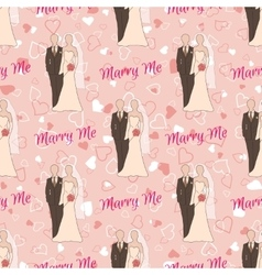 Wedding seamless pattern with bride and groom vector