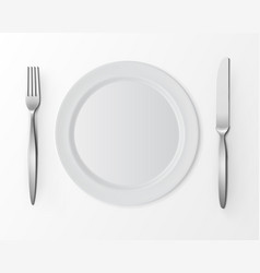 White Plate with Fork and Knife Table Setting vector image
