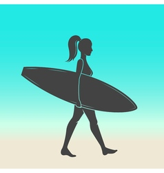 Woman goes surfing with surfboard Surf vintage vector image vector image