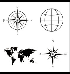 world map globe wind rose vector image vector image