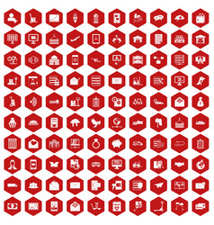 100 postal service icons hexagon red vector