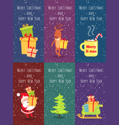 Merry christmas and happy new year set of banners vector